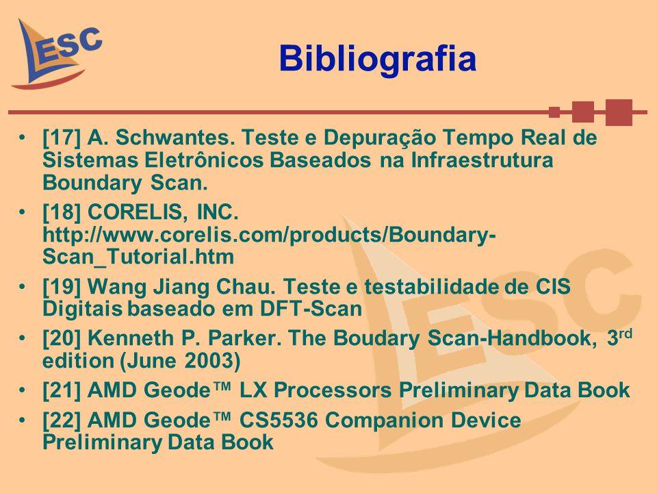 Bibliografia [17] A. Schwantes. Teste e Depuração Tempo Real de Sistemas Eletrônicos Baseados na Infraestrutura Boundary Scan.